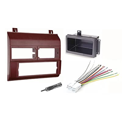 Single Din Dash Kit + Pocket Kit + Wire Harness + Antenna Adapter.Fits 1988-1996 Red Chevrolet & GMC Complete: Car Electronics