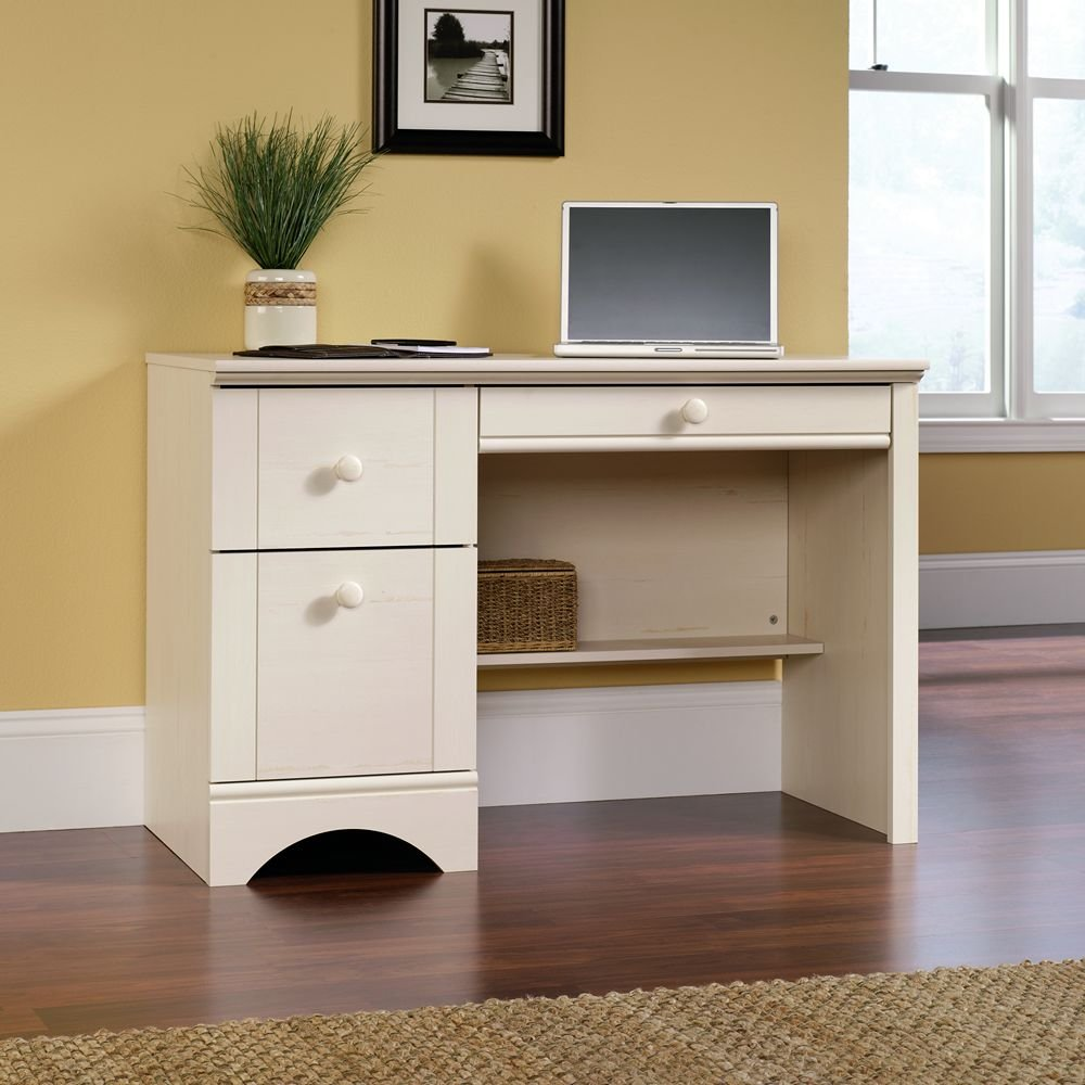 Amazon com  Sauder Harbor View Computer Desk  Antiqued White Finish   Kitchen   Dining. Amazon com  Sauder Harbor View Computer Desk  Antiqued White