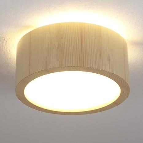 Plafón Madera Pino Diámetro 35 cm | Madera lámpara LED 2 x 6 W | –
