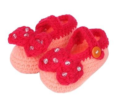 deb839f199c6a Bigood Chausson Bébé Chaussure Nœud de Papillon Perles Age 3-5 Mois Rose   Amazon.fr  Chaussures et Sacs