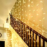 LE 300 LED Window Curtain String Light, Warm White Icicle Fairy Light with Remote, 8 Modes Setting, Timer Function, Wall Decoration for Wedding, Patio, Party, USB and Battery Powered Included