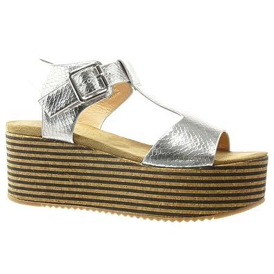 Angkorly Damen Schuhe Sandalen Mule - Plateauschuhe - Kork - Linien - String Tanga Keilabsatz High Heel 7 cm