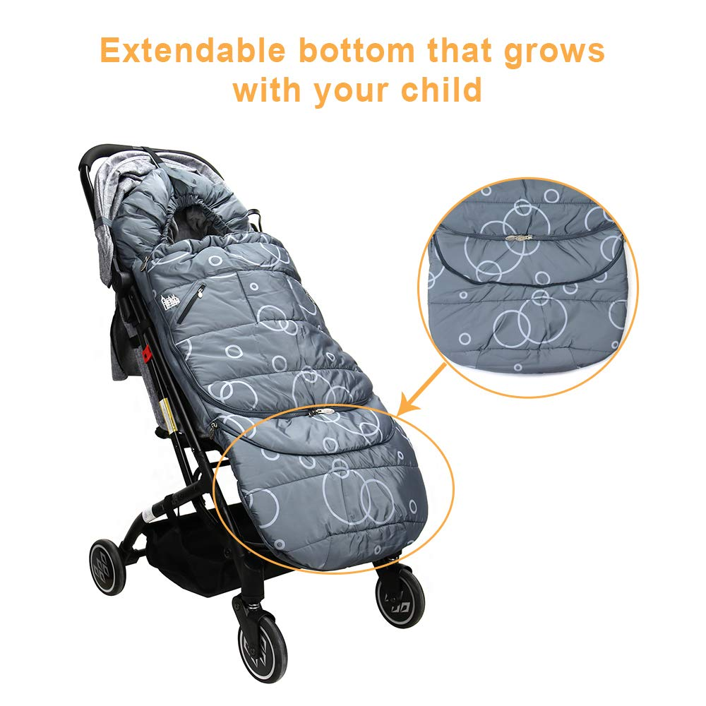 Wonder buggy Winter Outdoor Tour Waterproof Baby Infant Stroller Sleeping Bag Warm Footmuff Sack with Plush Interior (Gray) by Wonder buggy (Image #4)