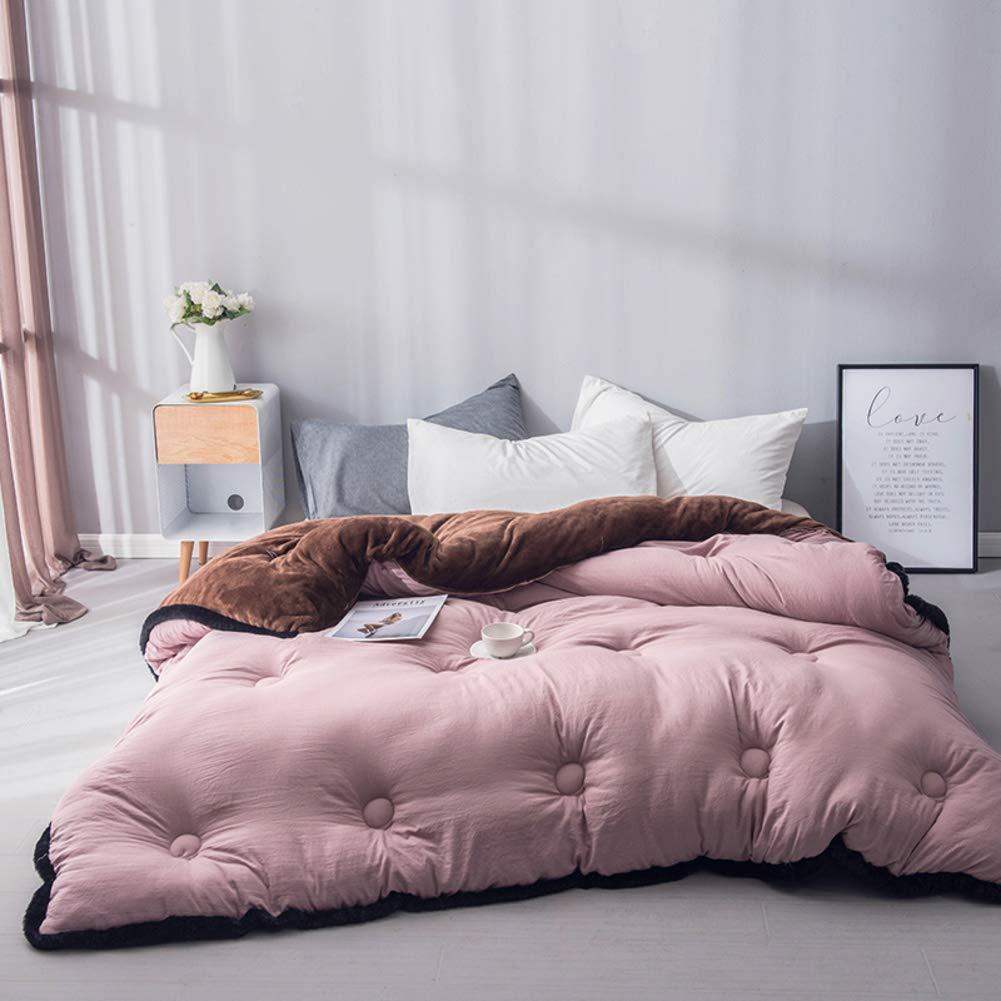 YU&AN Winter-Quilt Quilt,Core,Baumwolle gepolstert warm Lamm Kaschmir Raum baumwolldecke Für Schlafzimmer Schlafsaal-B 220x240cm(87x94inch)
