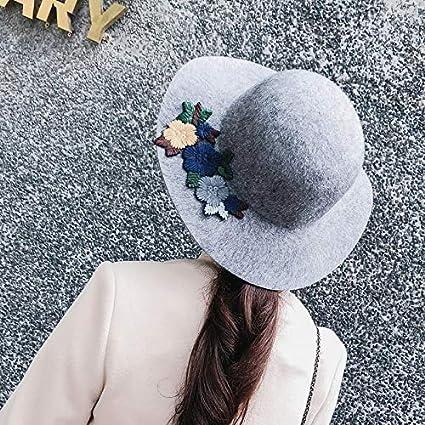 Proteccion Otoño e invierno gorro de lana cuenca flor pescador sombrero  femenino trabajo pesado bordado otoño 129269a1e75