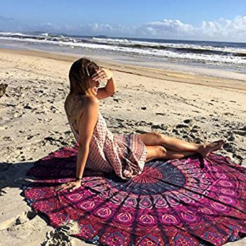 Jaipur Handloom Round Beach Tapestry Hippie/Boho Mandala Beach Blanket/Indian Cotton Throw Bohemian Round Table Cloth Mandala Decor/Yoga Mat Meditation Picnic Rugs Circle (Purple Pink, Roundie 70