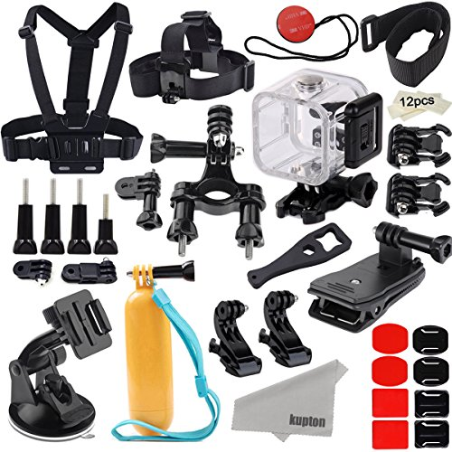 Kupton Accessories for GoPro Hero 5 Session/ Hero 4 Session/ Hero Session Bundle for Go Pro Action Camcorder Camera with Waterproof Housing Case Chest Head Bike Car Backpack Clip Mount