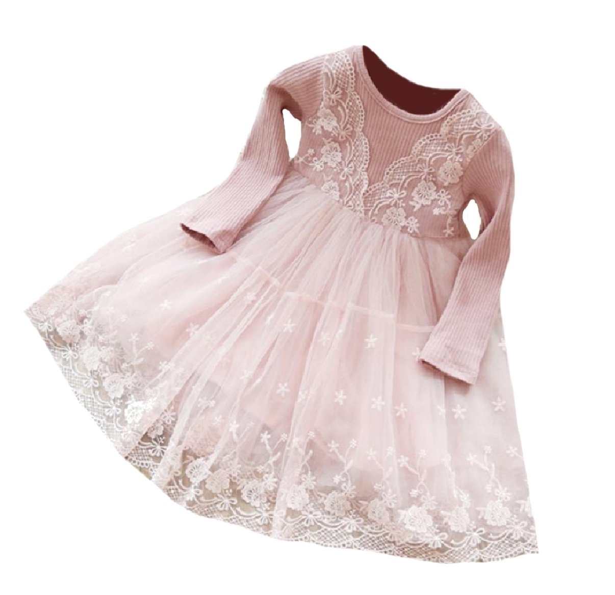XQS Girls Lace Fine Cotton Stylish Ballgown Dress for Wedding Party Pink 100