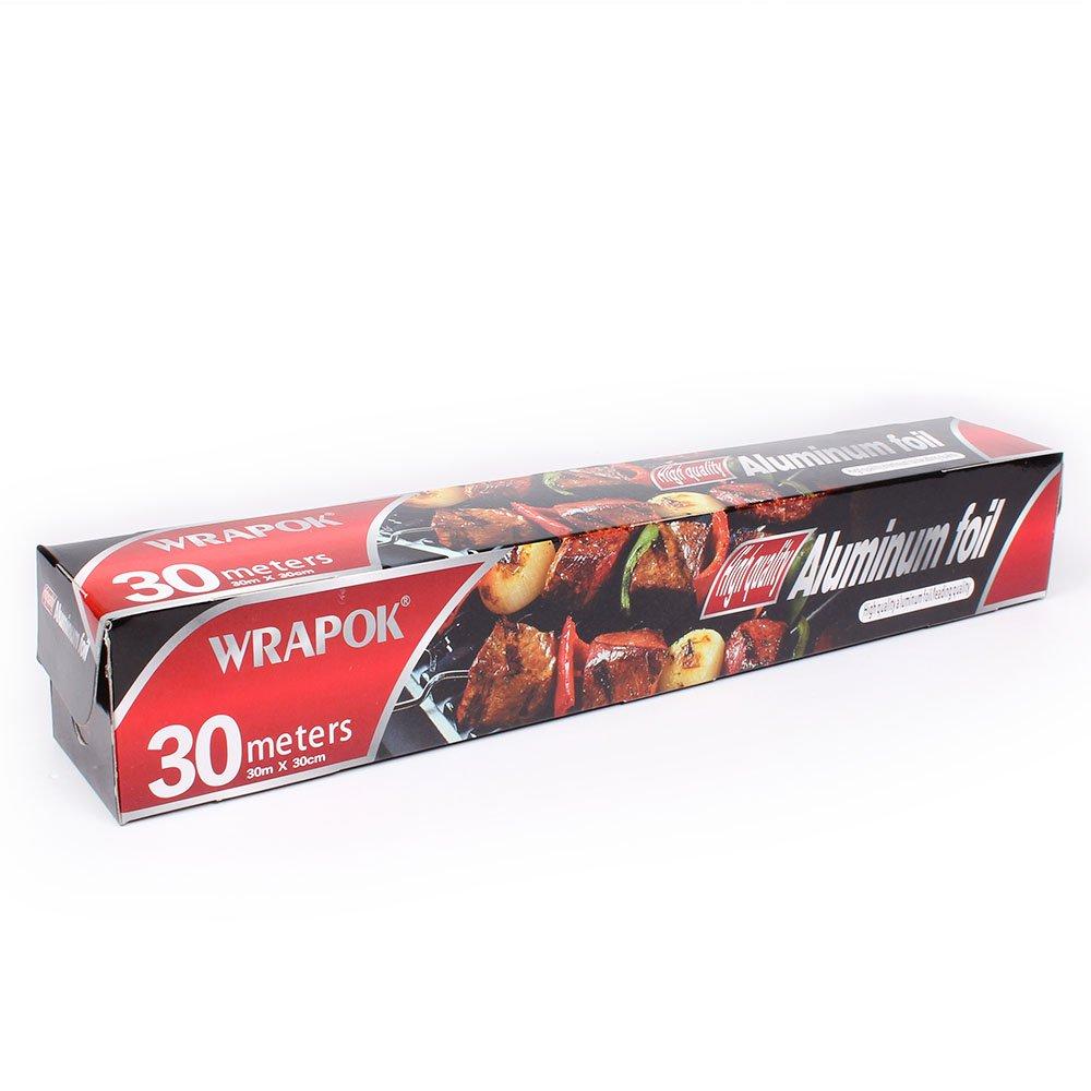 30 cm x 30 m et 30 cm x 8 m WRAPOK 2 x Cuisine antiadh/ésive pour restauration en aluminium r/ésistant /à la chaleur Combinaison de feuille daluminium pour le cuisson au four pour r/ôtir au barbecue