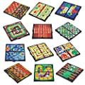 """Magnetic Board Game Set by GAMIE - Includes 12 Retro Fun Games - 5"""" Compact Design - Individually Boxed - Teaches Strategy & Focus - Great for Road Trip/ Travel/ Camping - Best Gift for Kids Ages 6+"""
