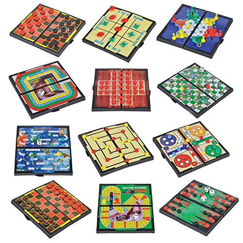 "Gamie Magnetic Board Travel Game Set Includes 12 Retro Fun Games - 5"" Compact Design - Individually Boxed - Teaches Strategy & Focus - Road Trip/ Travel/ Camping - Best Gift for Kids Ages 6+ ()"