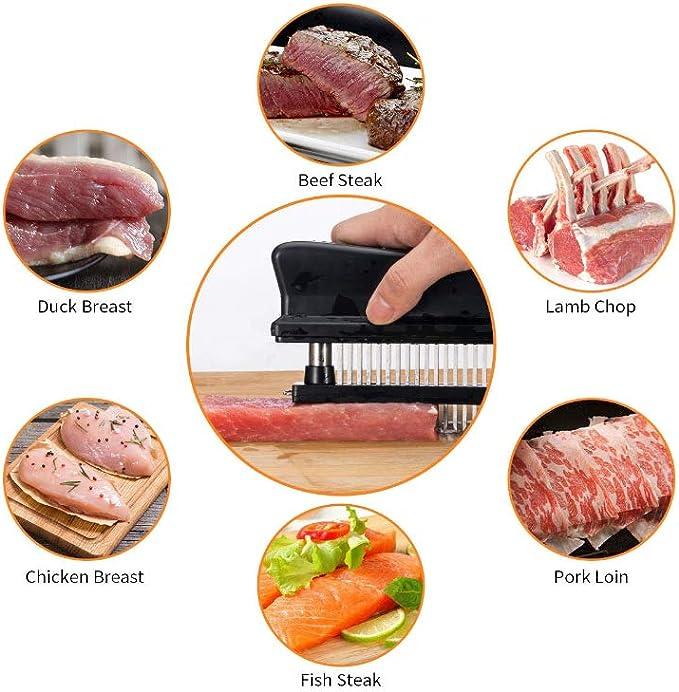 YAOL Steaks Meat Tenderizer Needle picado y poultry en la cocina para hacer carne silenciosa y sin salpicaduras Herramienta para salsas de acero inoxidable
