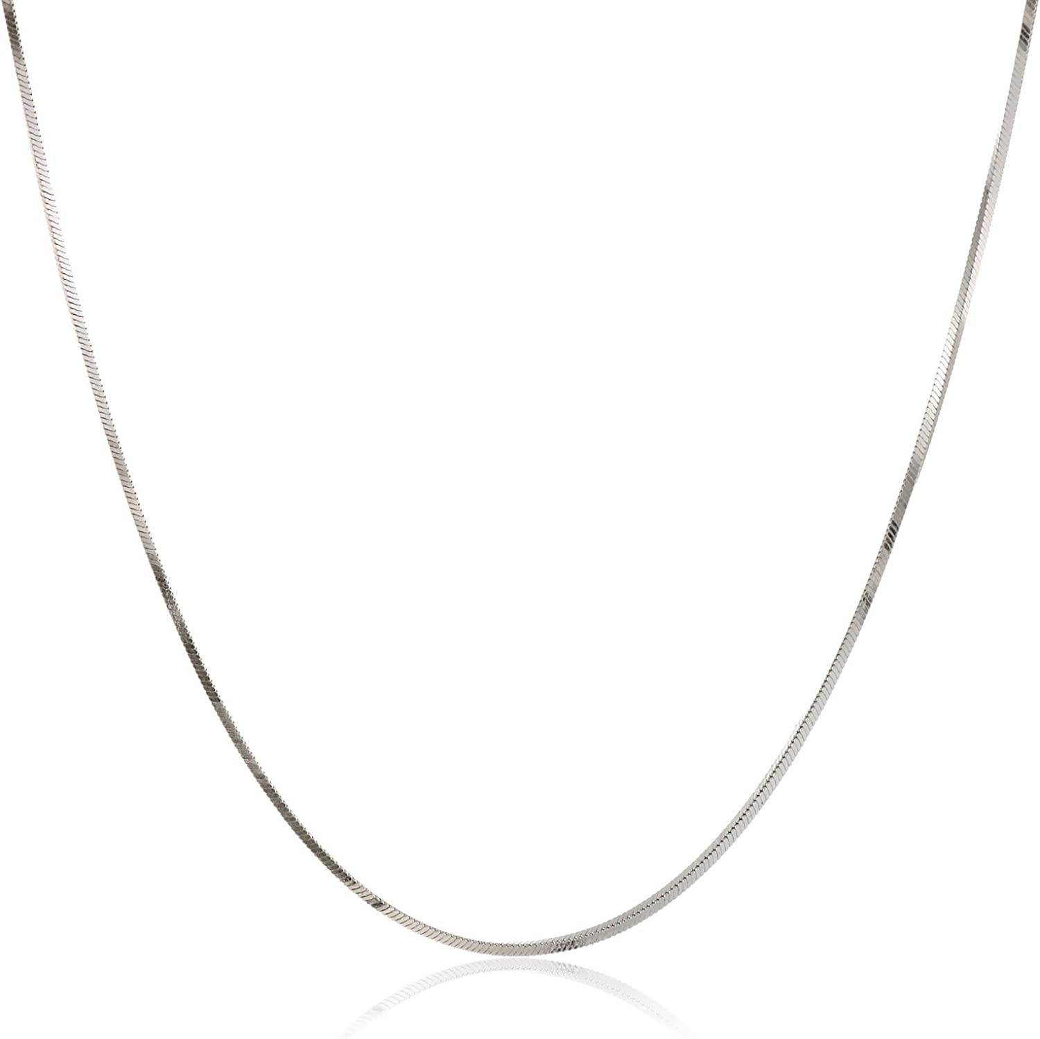 Sterling Silver Diamond-Cut 4 Sided Snake Chain Solid 925 Italy 1mm Necklace