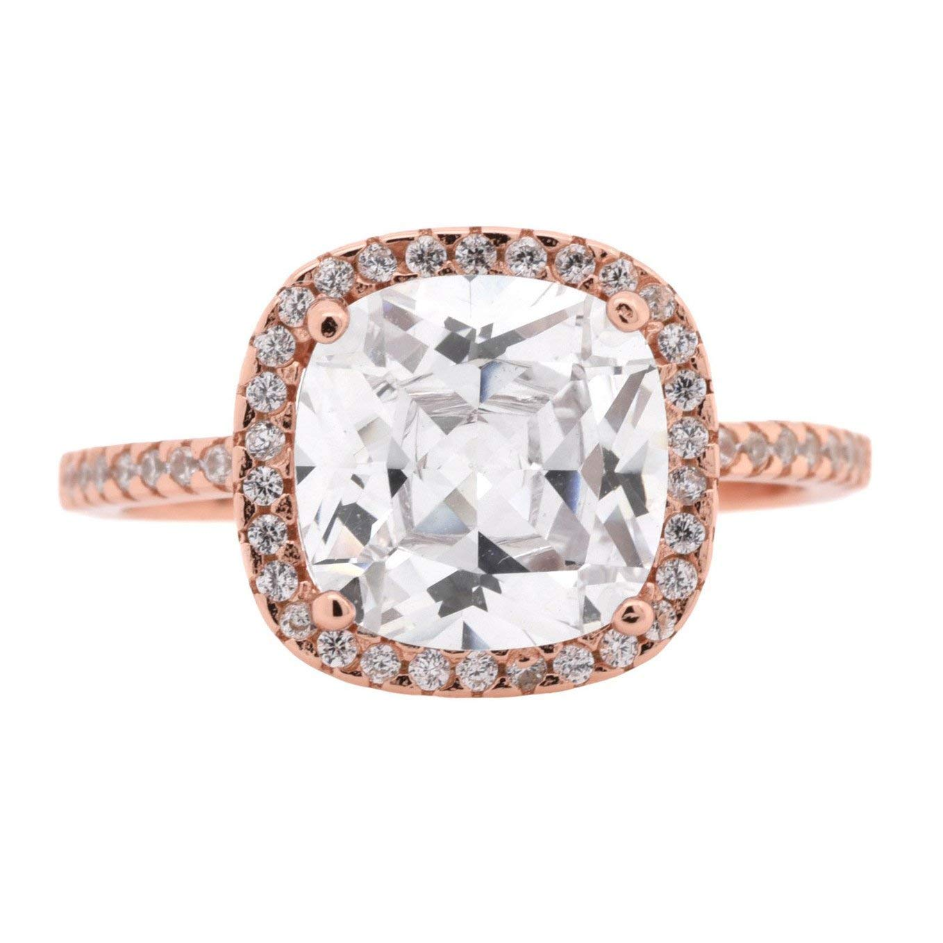 CloseoutWarehouse Halo Set Clear Cubic Zirconia Cushion Cut Simple Ring Sterling Silver