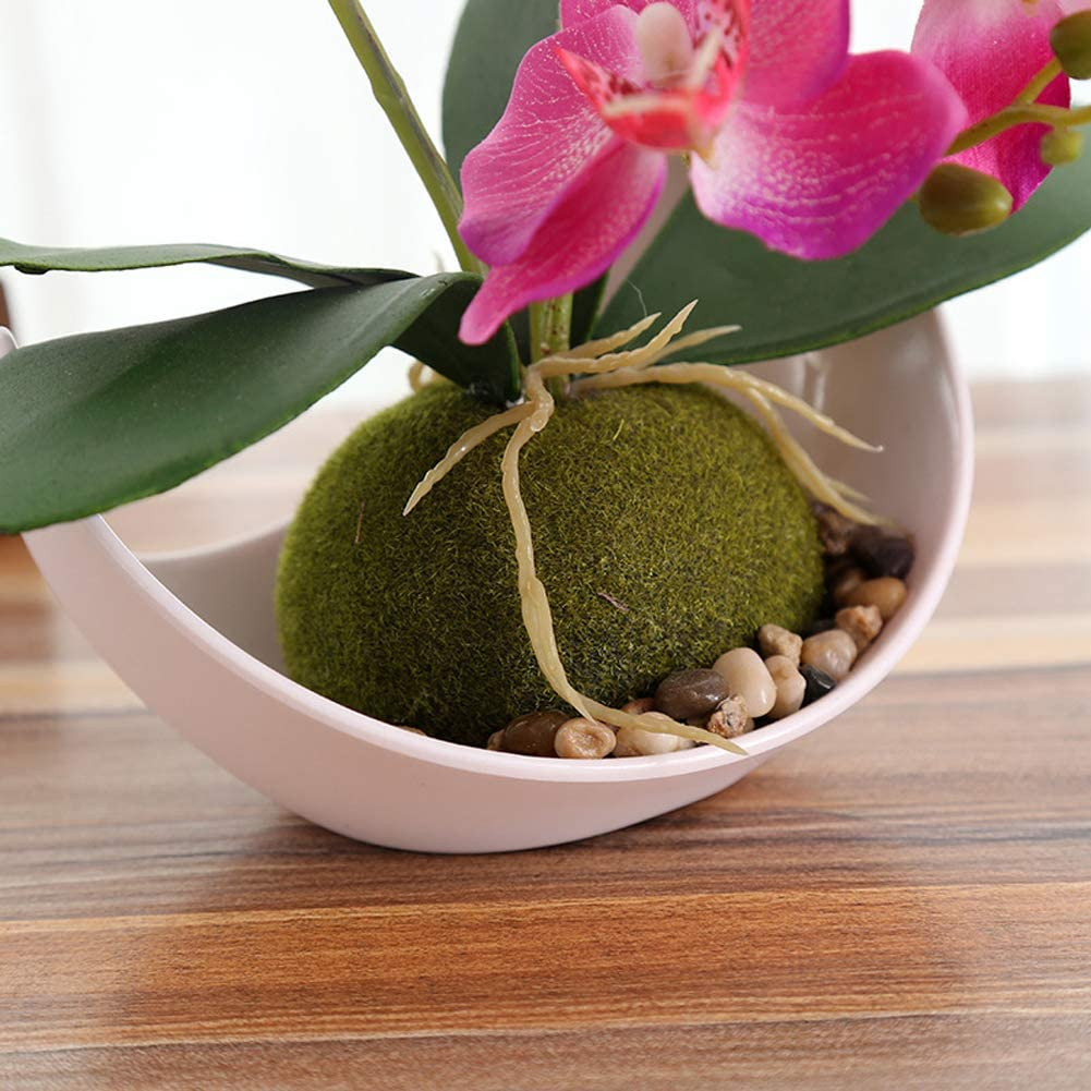 ,Green Artificial Orchid Bonsai Fake Flowers with Vase in Pot Simulation Plant Phalaenopsis Home Decor Indoor Outdoor Office Artificial Plant 1 Pack
