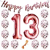 """13th Birthday Party Decorations Rose Gold Decor Strung Banner (HAPPY BIRTHDAY) & 12PC Helium Balloons w/Ribbon [Huge Numbers """"13"""", Confetti] Kit Set Supplies   Hang on Wall Backdrop"""