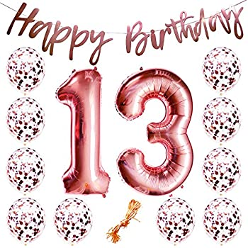 13th Birthday Party Decorations Rose Gold Decor Strung Banner Happy 12PC Helium Balloons W Ribbon Huge Numbers 13 Confetti Kit Set