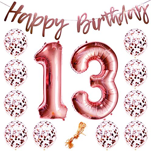 "13th Birthday Party Decorations Rose Gold Decor Strung Banner (HAPPY BIRTHDAY) & 12PC Helium Balloons w/Ribbon [Huge Numbers ""13"", Confetti] Kit Set Supplies 