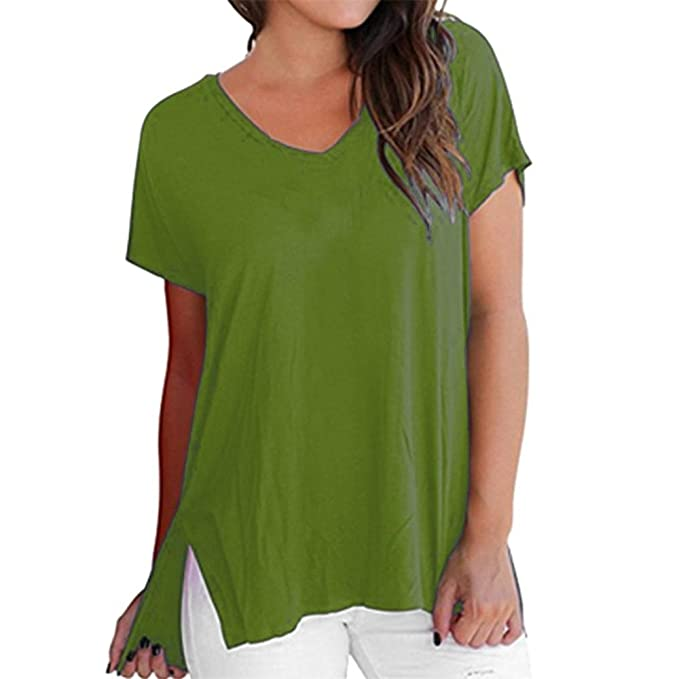 04d16cc3e12 Image Unavailable. Image not available for. Color  Simayixx Womens V-Neck  Short Sleeve Tops Draped Plain Ruched Casual T-Shirts Basic
