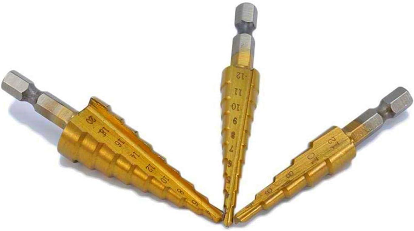 Dyna-Living 3 brocas escalonadas hexagonales HSS Hex Shank en espiral 4-20/9, 3-12/10, 4-12/5, con revestimiento de titanio, para acero inoxidable, metal, madera, plástico, hierro