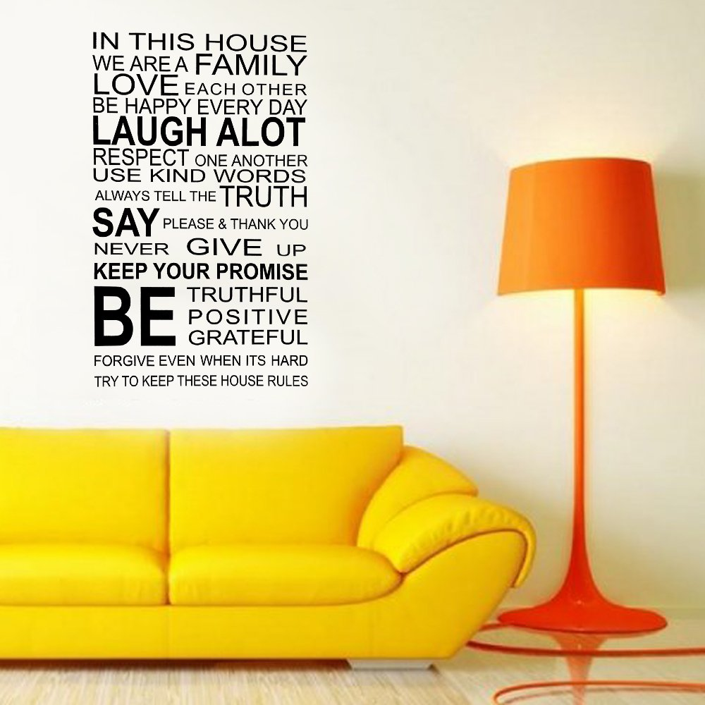 Walplus Wall Stickers Family Rules Quote Removable Self-Adhesive ...