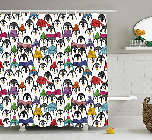 Penguin Curtain - Ambesonne Sea Animals Shower Curtain, Pattern with Penguins in Colorful Hats and Scarfs Cold Winter Fun Art, Cloth Fabric Bathroom Decor Set with Hooks, 70
