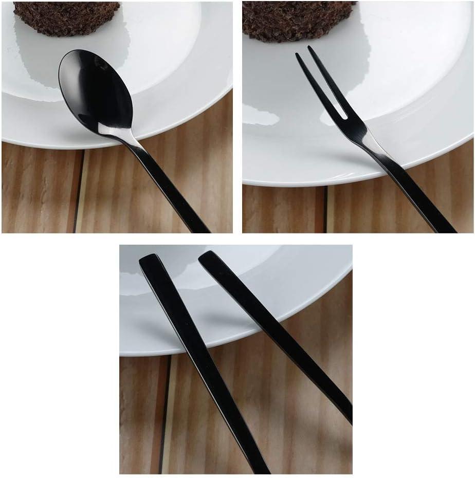 12 Pieces Tstorage Stainless Steel Black Dessert Appetizer Forks Small Dinner Forks