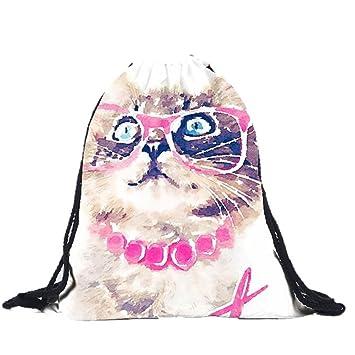 Acuarela Pintura Gato Mochilas baonoopy 3d impresión bolsas cordón mochila: Amazon.es: Deportes y aire libre