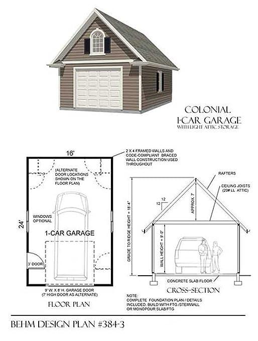 amazoncom garage plans 1 car 16u0027 x 24u0027 one car by behm design home improvement