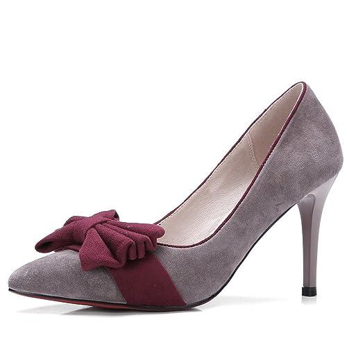 be69de0c02c Nine Seven Cuero Moda Puntiagudos Zapatos de Tacón Aguja con Lazo para Mujer  (37