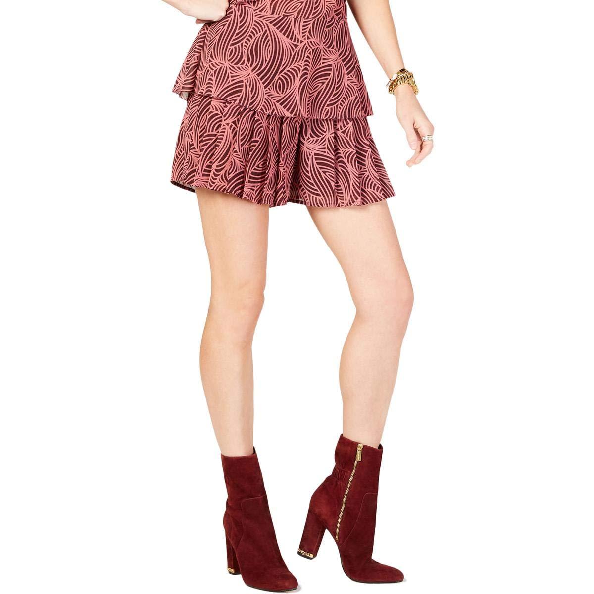 Michael Michael Kors Womens Petites Swirl Printed Ruffled Dress Shorts Purple 2P by Michael Michael Kors