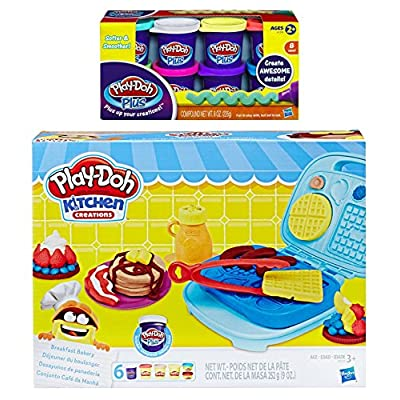 Play Doh Kitchen Creation Breakfast Bakery + Play-Doh Plus Compound Bundle: Arts, Crafts & Sewing