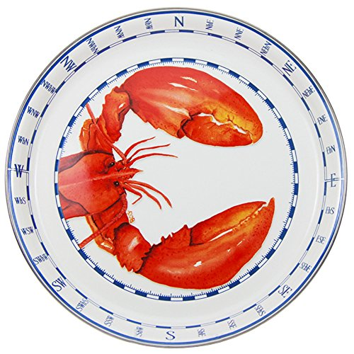 - Enamelware - Lobster Pattern - 15.5 Inch Round Serving Tray