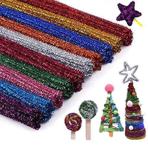 (300Pcs Glitter Sparkle Pipe Cleaners Tinsel Chenille Stems,10 Colors Metallic Pipe Cleaner for DIY Crafts,Arts,Wedding,Home,Party,Holiday Decoration 6 mm x 12 Inch)