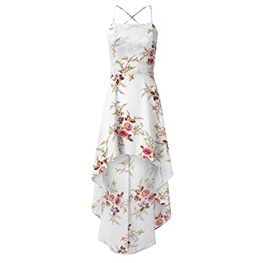 056950990f364 Image Unavailable. Image not available for. Color: Floral Print Party Dress  Women Spaghetti Strap Maxi Dress Ladies Summer Dress,White ...