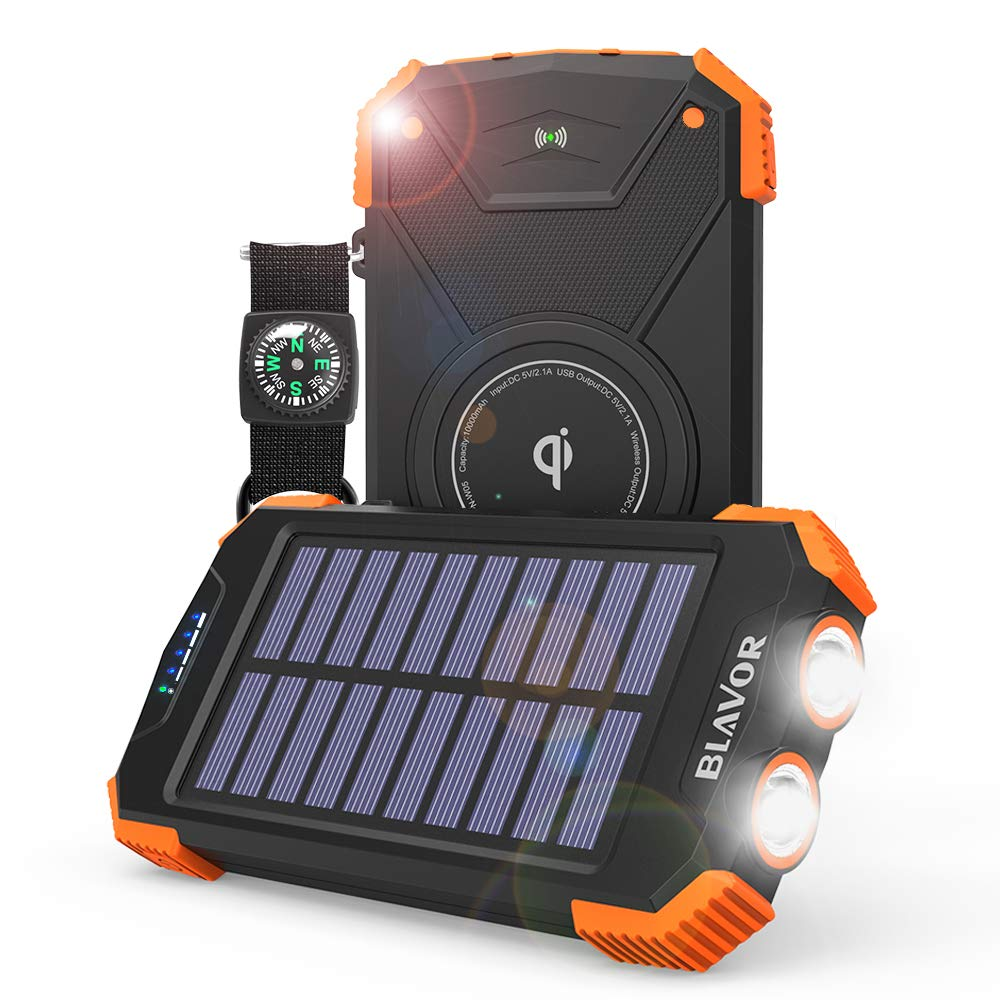 Solar Power Bank, Qi Wireless Charger 10,000mAh External Battery Pack Type C Input Port Dual Flashlight, Compass (IPX4 Splashproof, Dustproof, Shockproof, Solar Panel Charging, DC5V/2.1A Input) BLAVOR Solar Charger&Power Bank-1