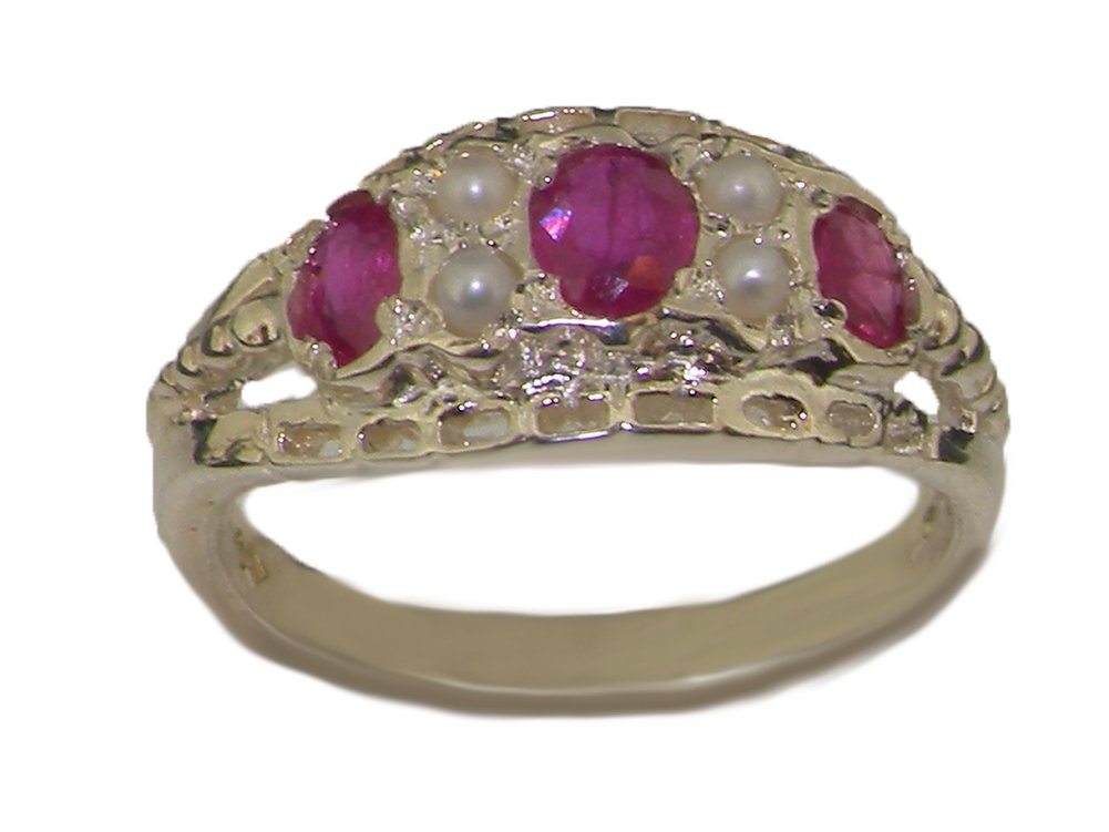 925 Sterling Silver Natural Ruby and Cultured Pearl Womens Band Ring - Sizes 4 to 12 Available