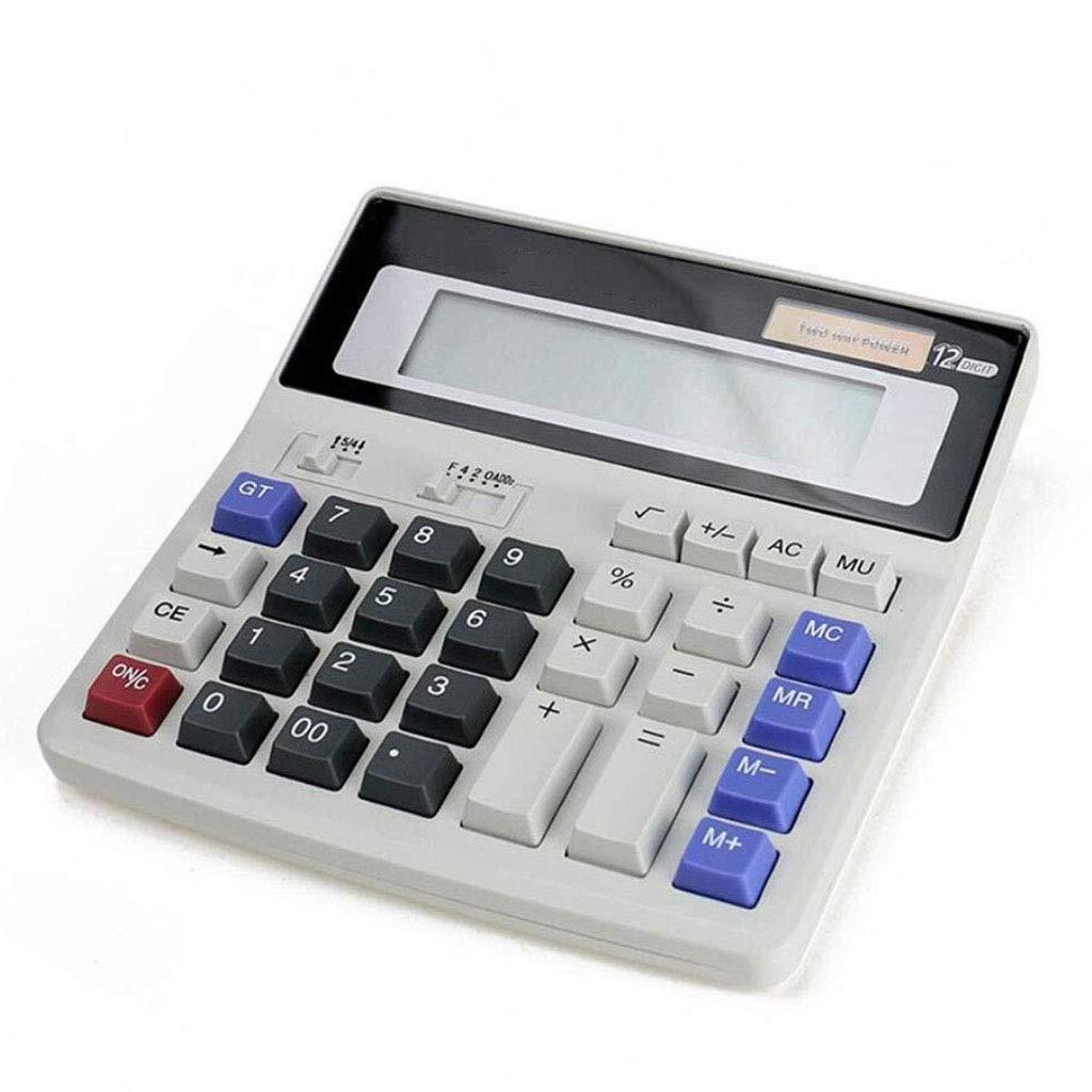 Calculator Desktop Office Student Calculator Solar Dual Power 12-bit Digital Display Large Screen LCD Display Large Computer Button Vineyard (Color : 2A) by Vineyard