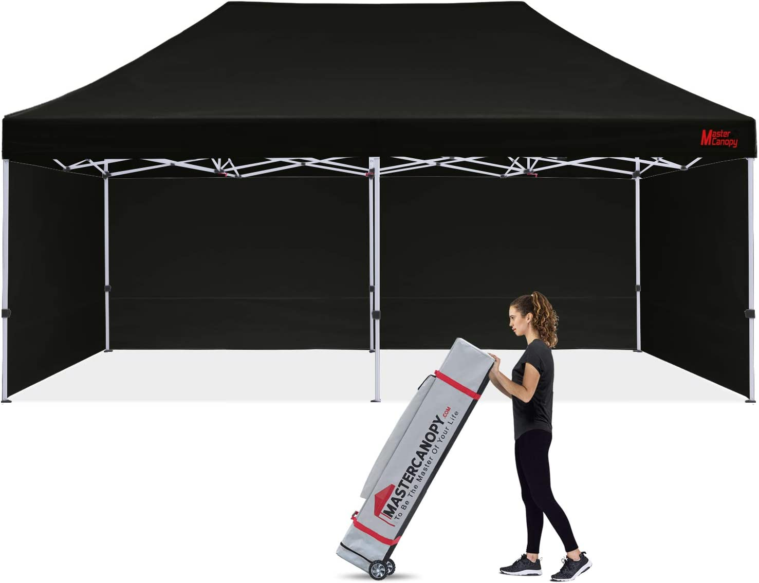 MASTERCANOPY Durable Pop-up Canopy Tent 10x20 Heavy Duty Instant Canopy with Sidewalls (Black)