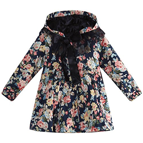 Richie House Little Girls' Floral Print Coat with Hood RH0912-A-5/6 (Print Satin Coat)