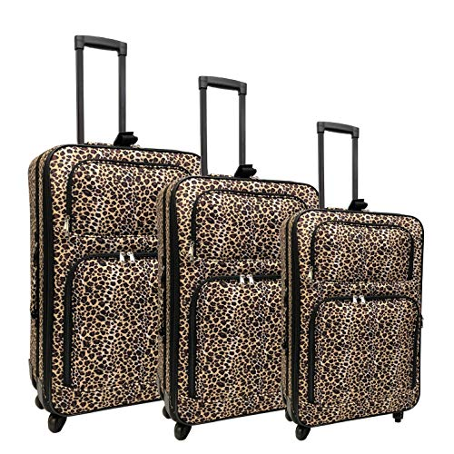 Spinner Expandable Luggage Set (Leopard)