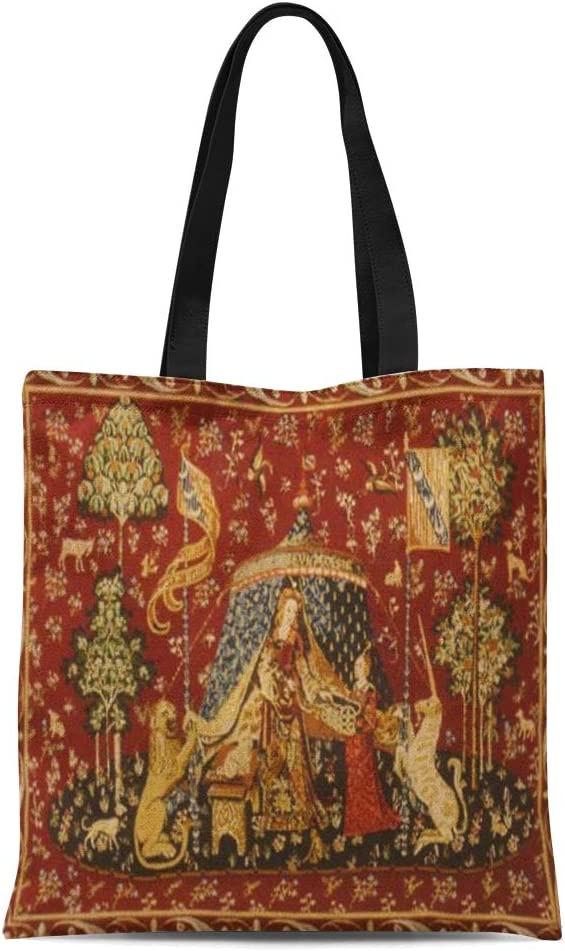Ablitt Tote Bag Shoulder Bags Canvas Red Gothic Antique Look Medieval Grocery bag Womens Handle Shoulder Tote Shopper Handbag