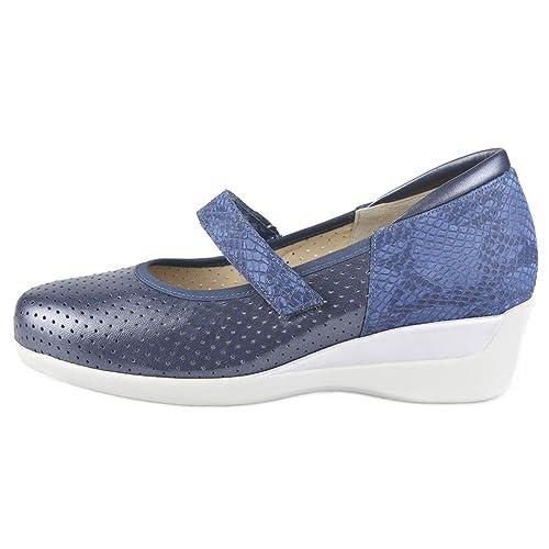 Zapatos cómodos con Plantillas extraibles. Color Azul Metalizado con Velcro.  Ideal para pies delicados 6706abfafa5c
