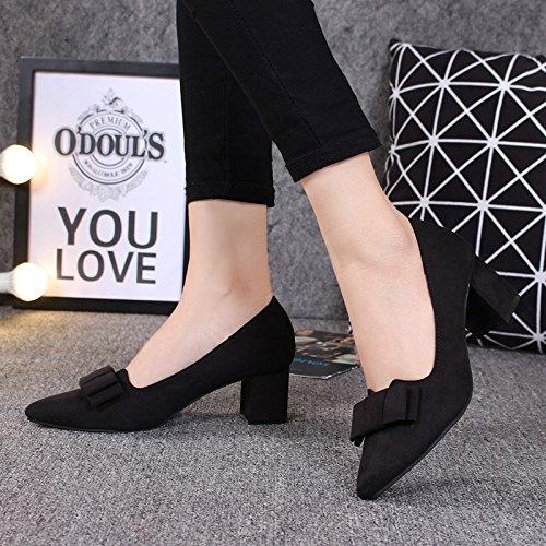KPHY-Raíces Cuadradas 6 Cm De Tacón Alto Zapatos De Las Mujeres Salvaje Otoño De Zapatos Zapatos Tacones Gruesos Zapatos De Punta. black