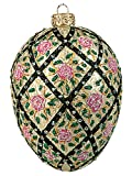 Faberge Inspired Rose Trellis Egg Polish Mouth Blown Glass Christmas or Easter Ornament