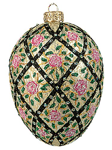 A Bit of Britain Faberge Inspired Rose Trellis Egg - Polish Mouth Blown Glass Christmas or Easter Ornament