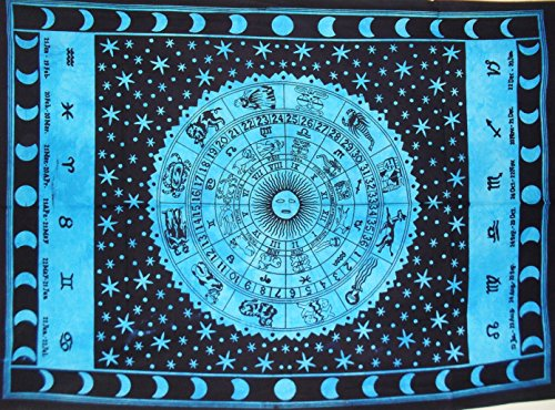 Traditional Jaipur Zodiac Sign Poster, Celestial Indian Tapestry, Astrological Wall Hanging, Hippie Dorm Room Decorations, Boho Wall Art Size: 30