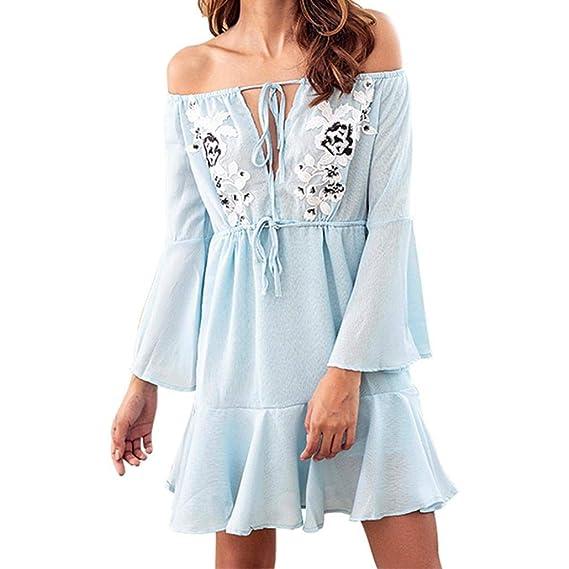 Faldas Cortas Mujer Verano, Zolimx Vestidos Playa Mujer Larga Tamiz Fuera del Hombro Bohemio Vestido