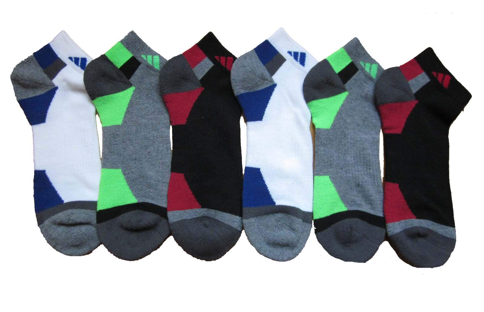 adidas Men's Athletic Low Cut Sock (6-Pack) (Black/Charcoal/Red/Heather/Royal)