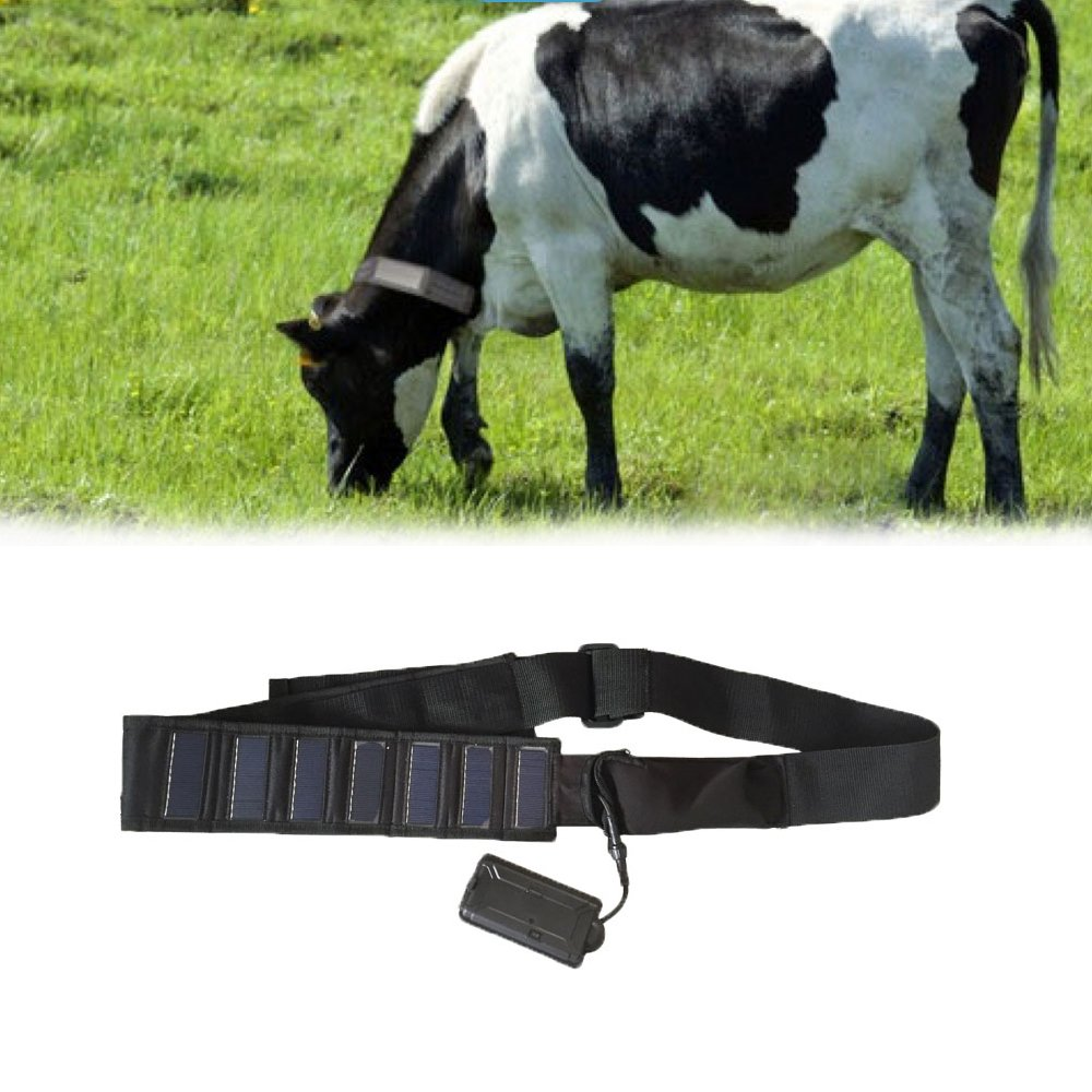 KingNeed 3G Cow Collar Solar GPS Tracker Real-time Tracking Locator Device Activity Monitor for Farm Animals with Solar Panel and 5000mAh Battery Built-in